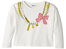 Moschino Kids Long Sleeve Pearl Necklace Graphic Cropped T-Shirt (Big Kids)