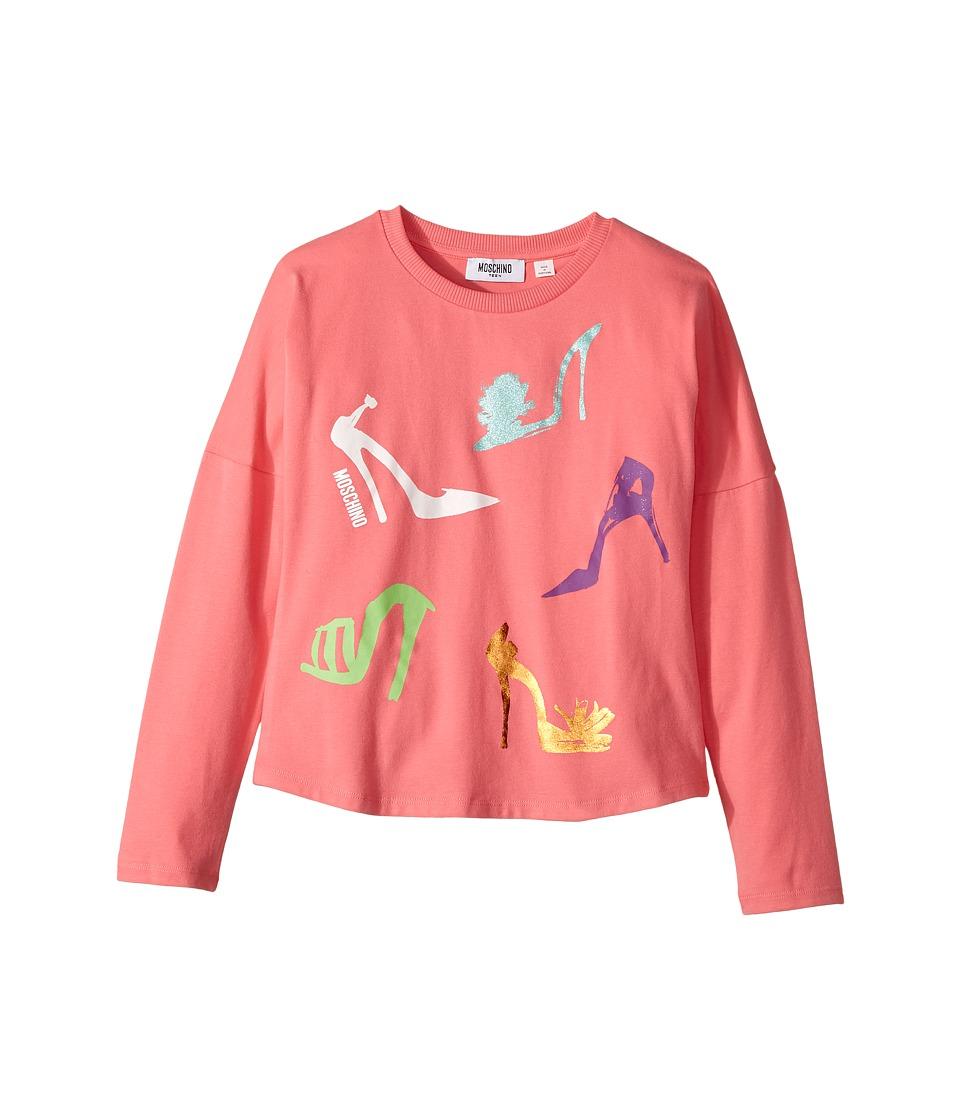 Moschino Kids - Long Sleeve High Heels Graphic T-Shirt