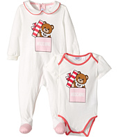 - Teddy Bear Present Footie Body Suit Gift Box Set  Pink