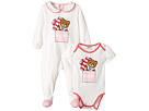 Moschino Kids Teddy Bear Present Footie Body Suit Gift Box Set (Infant)