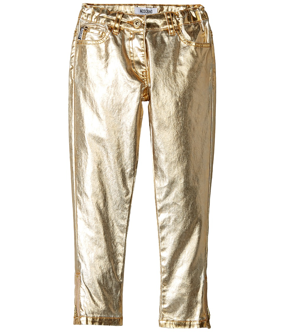 Moschino Kids - Pants w/ Logo on Back Pockets (Little Kids/Big Kids) (Gold) Girls Casual Pants