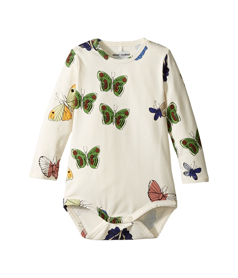 mini rodini - Butterflies Long Sleeve Bodysuit (Infant) (Off-White) Girls Jumpsuit & Rompers One Piece