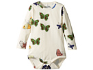 mini rodini Butterflies Long Sleeve Bodysuit (Infant)
