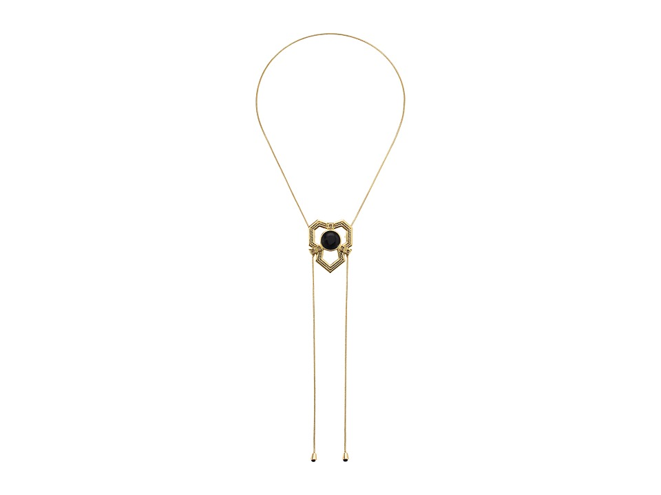 House of Harlow 1960 - Patolli Bolo Necklace (Gold/Black) Necklace