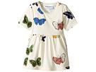 mini rodini Butterflies Short Sleeve Dress (Infant/Toddler/Little Kids/Big Kids)