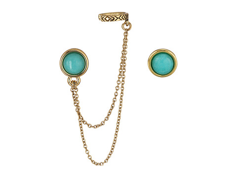 House of Harlow 1960 Coronado Double Chain Ear Cuff Earrings - Gold/Yellow Turquoise