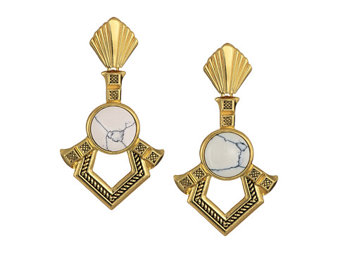 House of Harlow 1960 Patolli Dangle Earrings - Gold/Howlite