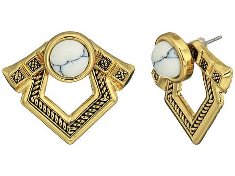 House of Harlow 1960 Patolli Ear Jacket Earrings - Gold/Howlite