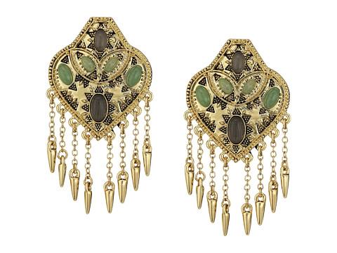 House of Harlow 1960 Montezuma Statement Earrings - Gold/Aventurine/Grey