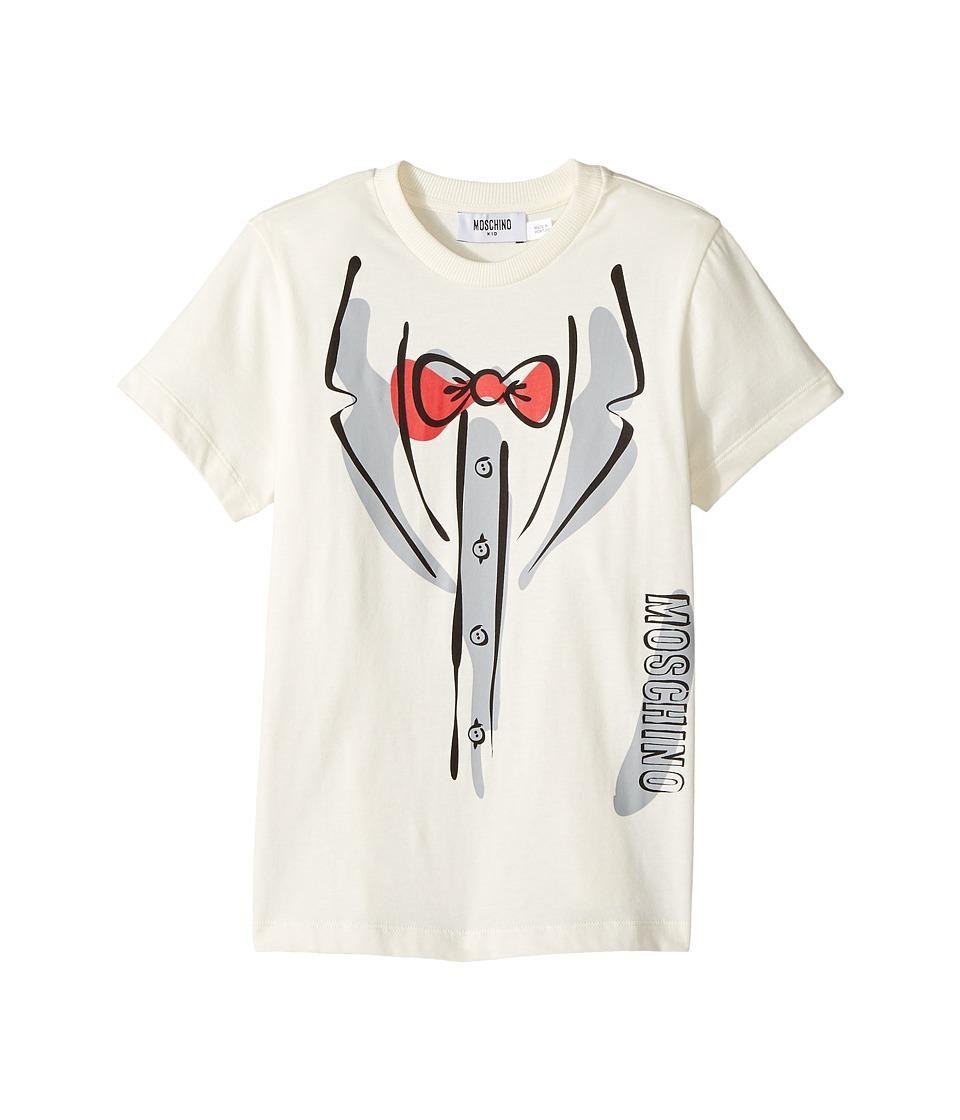 Moschino Kids - Short Sleeve Tuxedo Graphic Logo T-Shirt ...