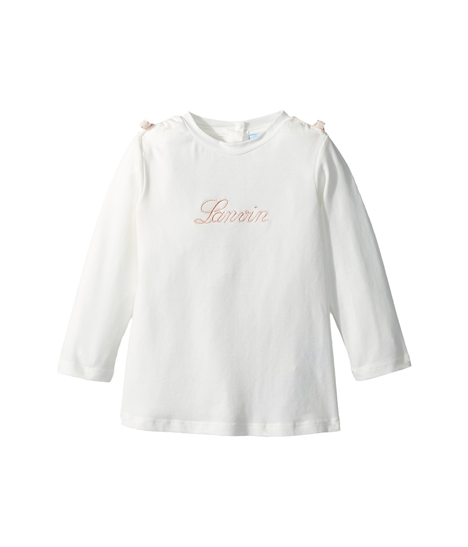 Lanvin Kids - Long Sleeve Logo T-Shirt with Shoulder Bows