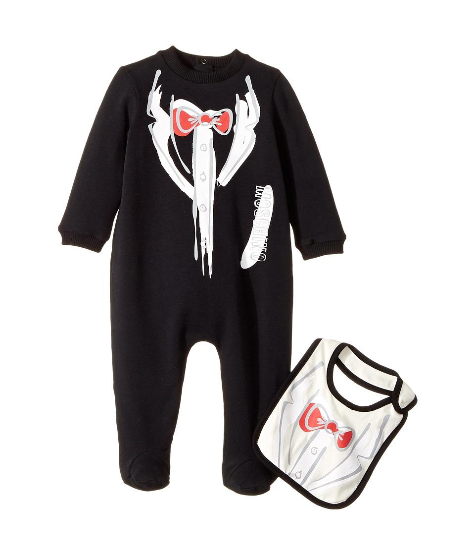 Moschino Kids - Tuxedo Romper Bib Gift Box Set (Infant) (...