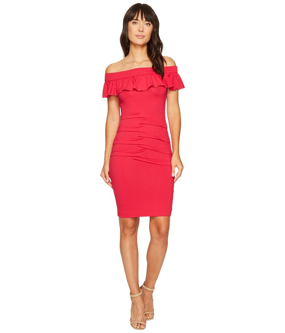 Nicole Miller Minka Jersey Off the Shoulder Dress (Sour Cherry) Women