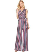 Donna Morgan - Metallic Stripe Wrap Jumpsuit