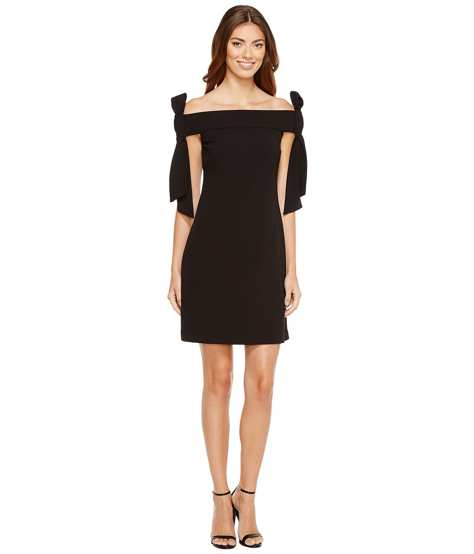 Donna Morgan - Sleeveless Crepe Dress with Bow Details at Shoulder (Black) Womens Dress