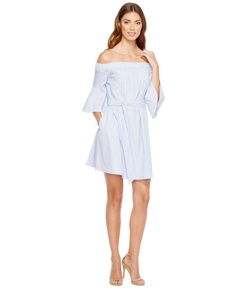 Donna Morgan Off Shoulder Bell Sleeve Dress with CF Inverted Pleat (Blue/White) Women