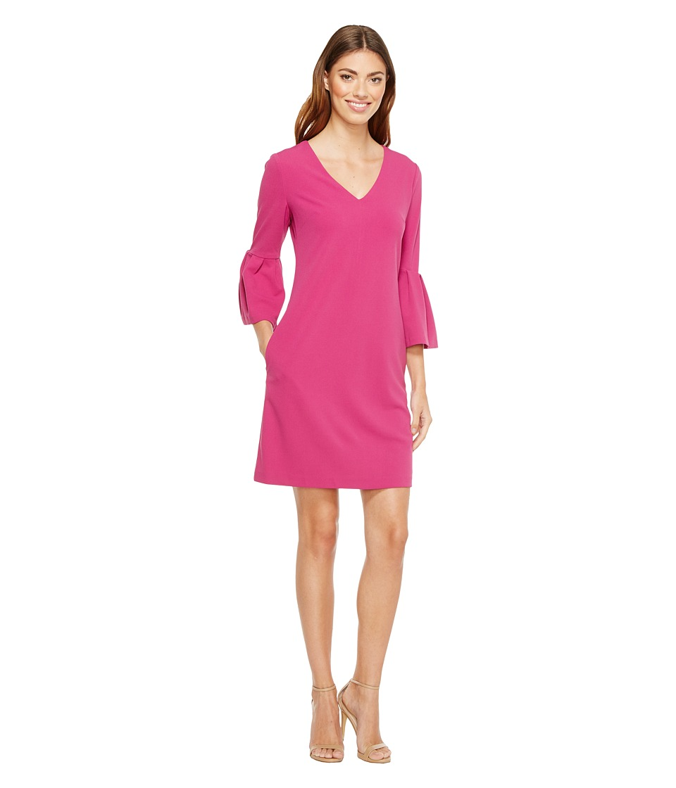 Donna Morgan 3/4 Bell Sleeve Crepe Shift with V-Neck (Raspberry) Women
