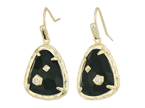 Kendra Scott Asher Earrings - Gold/Green Ocean Jasper Cubic Zirconia