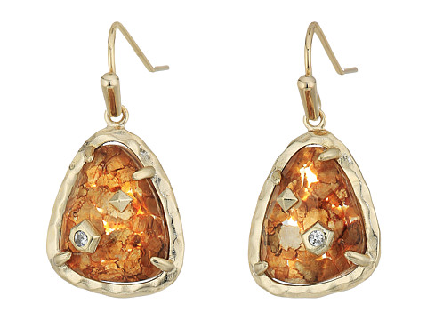 Kendra Scott Asher Earrings - Brass/Crushed Gold Mica Cubic Zirconia