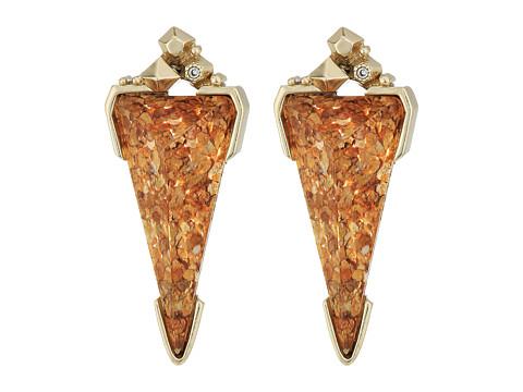 Kendra Scott Libby Earrings - Brass/Crushed Gold Mica Cubic Zirconia