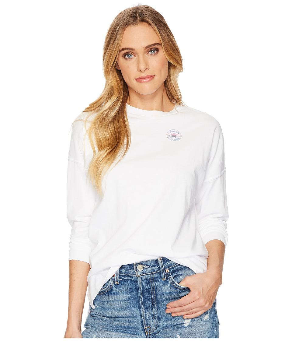 Converse Shine Pack LT Chest CP Long Sleeve T-Shirt (White) Women