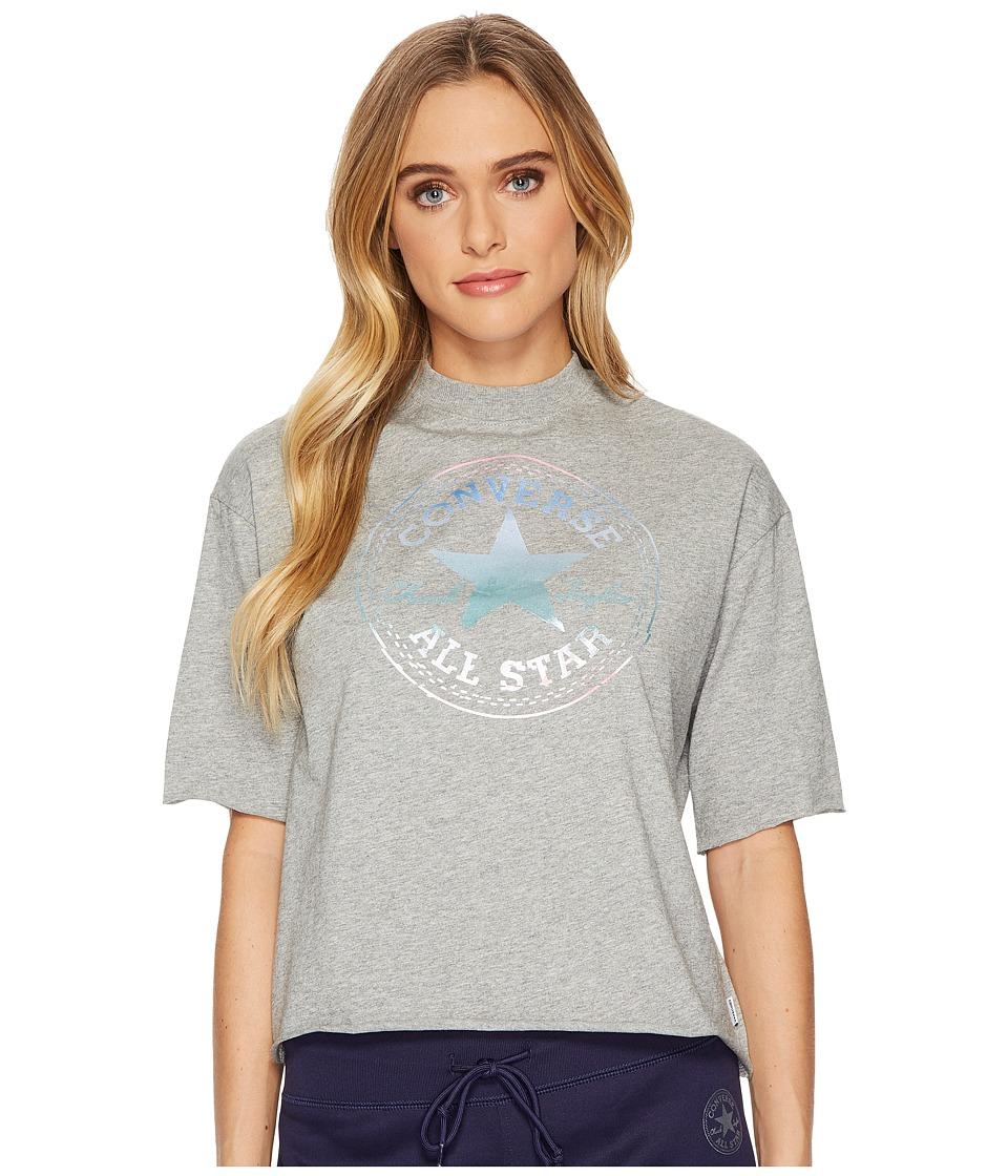 Converse Shine Pack Foil CP Mock Neck T-Shirt (Vintage Grey Heather) Women