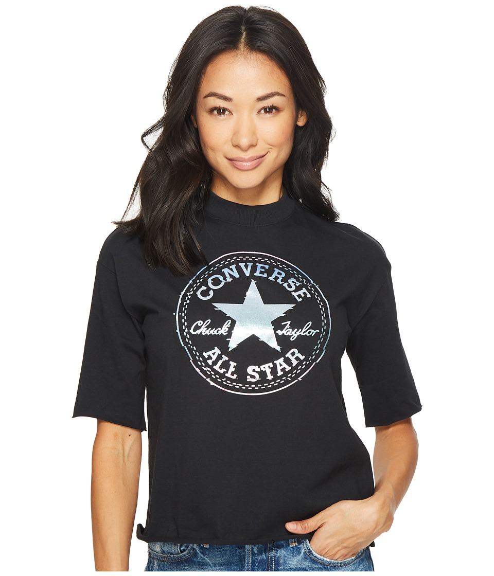 Converse Shine Pack Foil CP Mock Neck T-Shirt (Black) Women