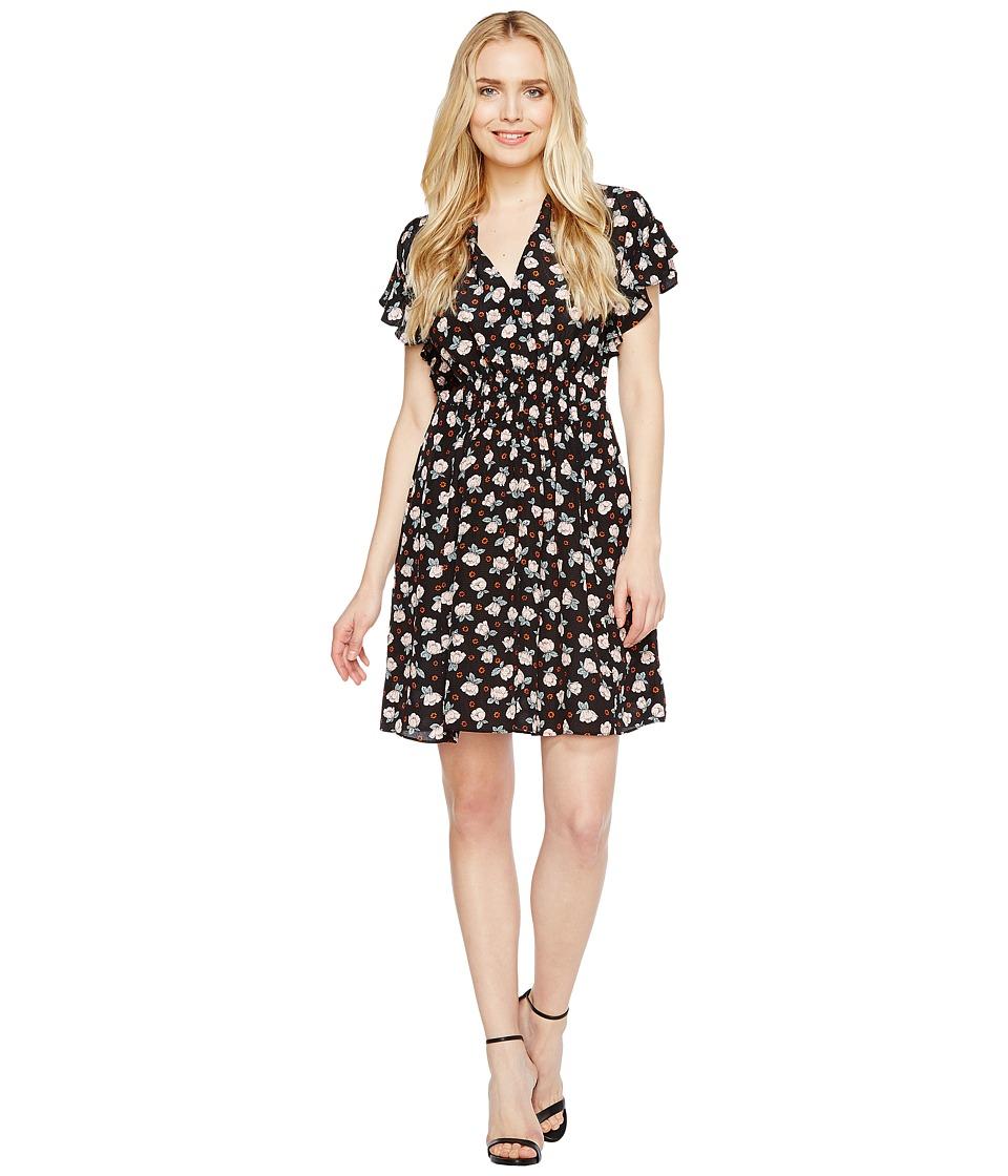 Rebecca Taylor Sleeveless Rosalie V-Neck Dress (Black) Women