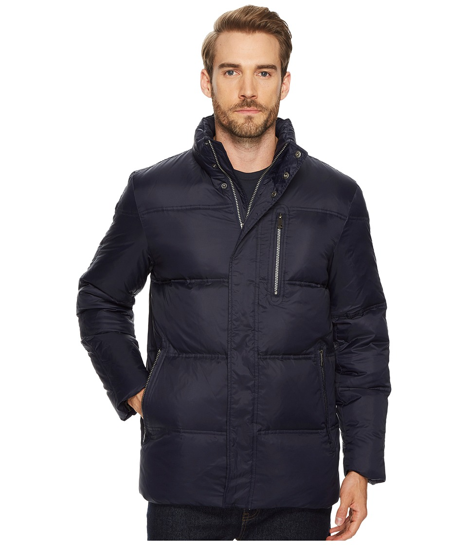 Cole Haan 32 Zip Front Packable To Travel Pillow with Fleece Trim Quilted Jacket (Navy) Men