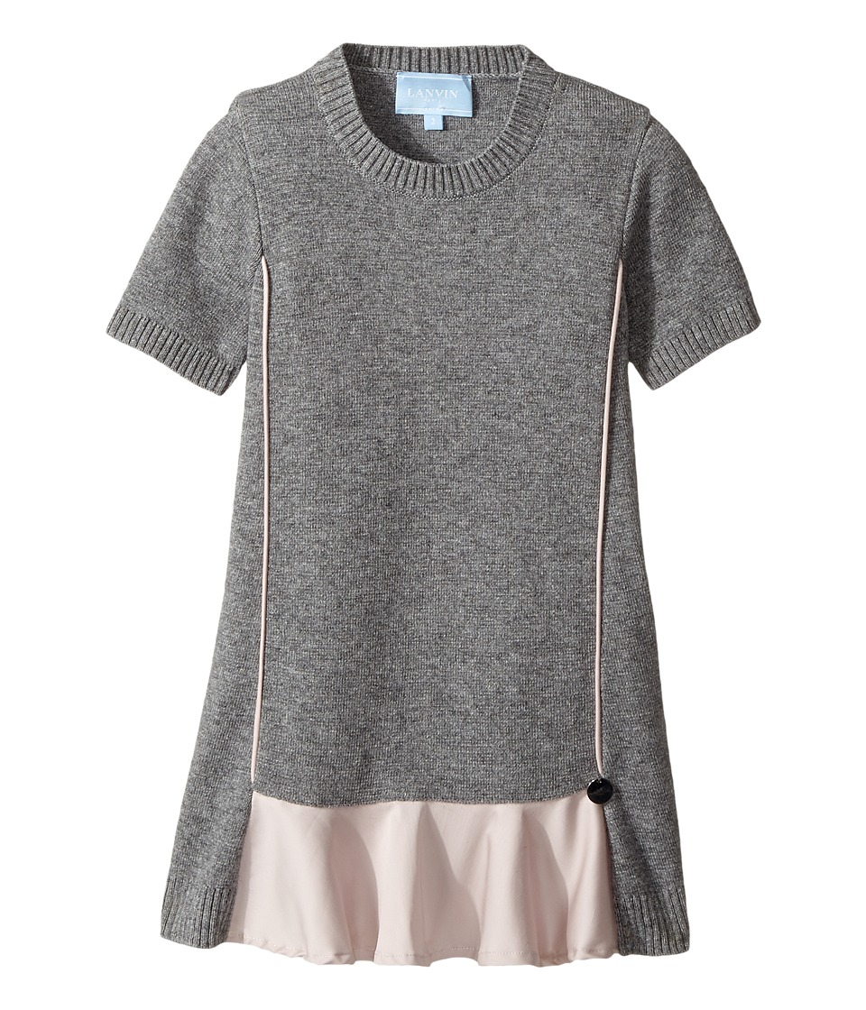 Lanvin Kids - Short Sleeve Knit Dress with Contrast Ruffles On Front
