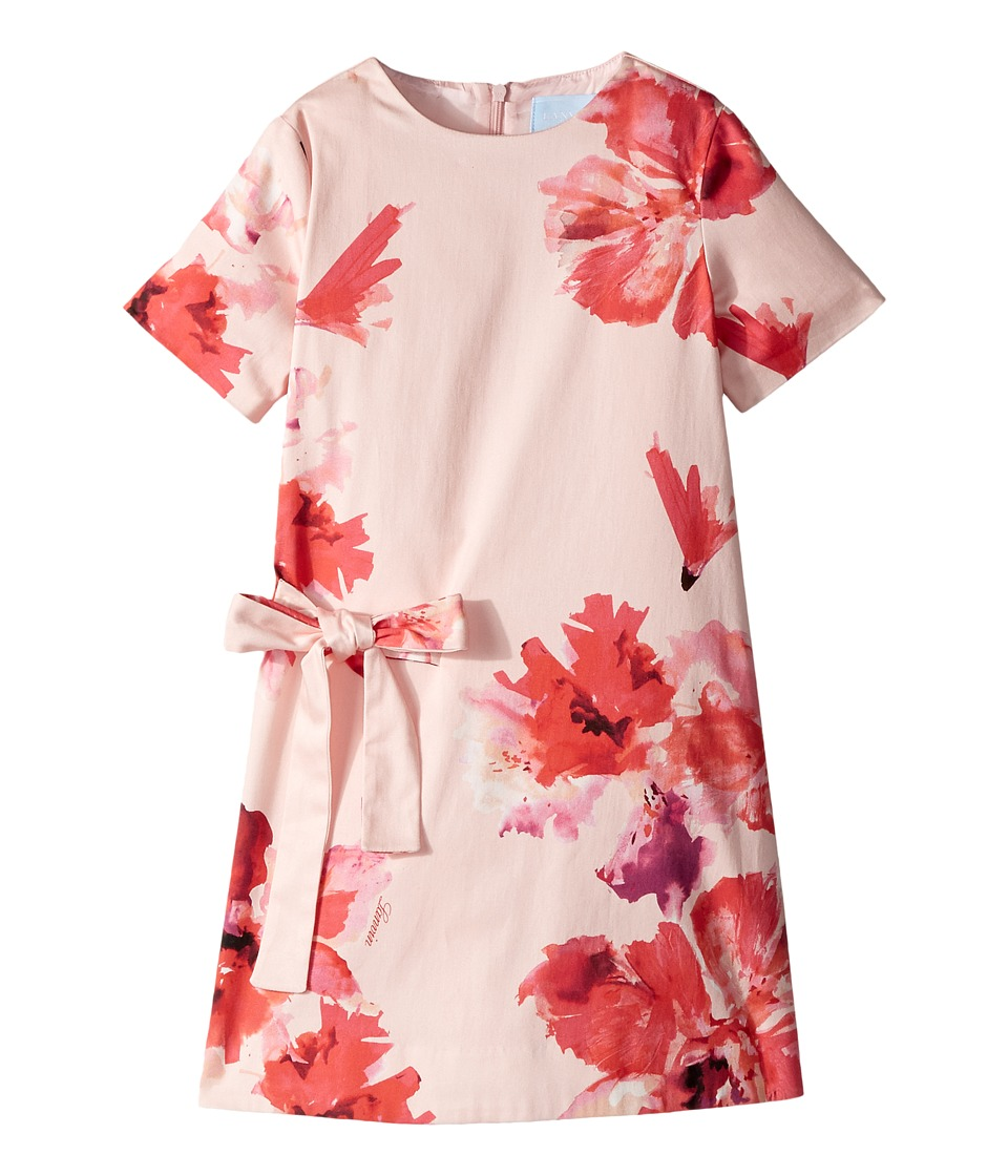 Lanvin Kids - Short Sleeve Floral Print A-Line Dress with Bow On Front