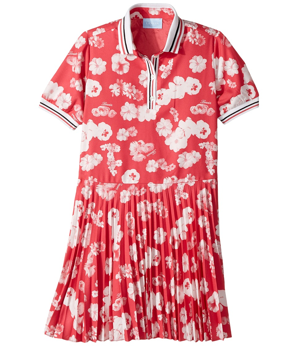Lanvin Kids - Short Sleeve Floral Print Polo Dress with Pleat Skirt