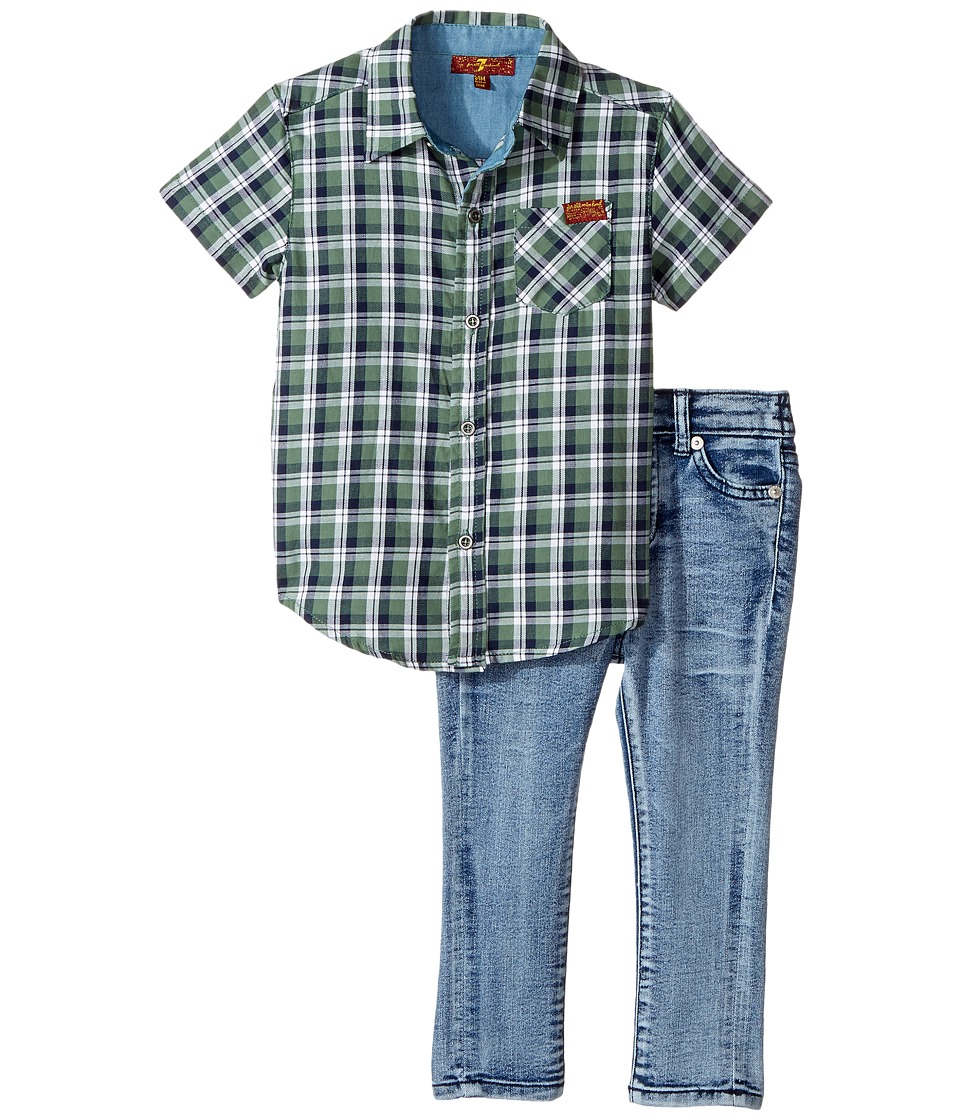 7 For All Mankind Kids - Two-Piece Woven Shirt and Jeans Set
