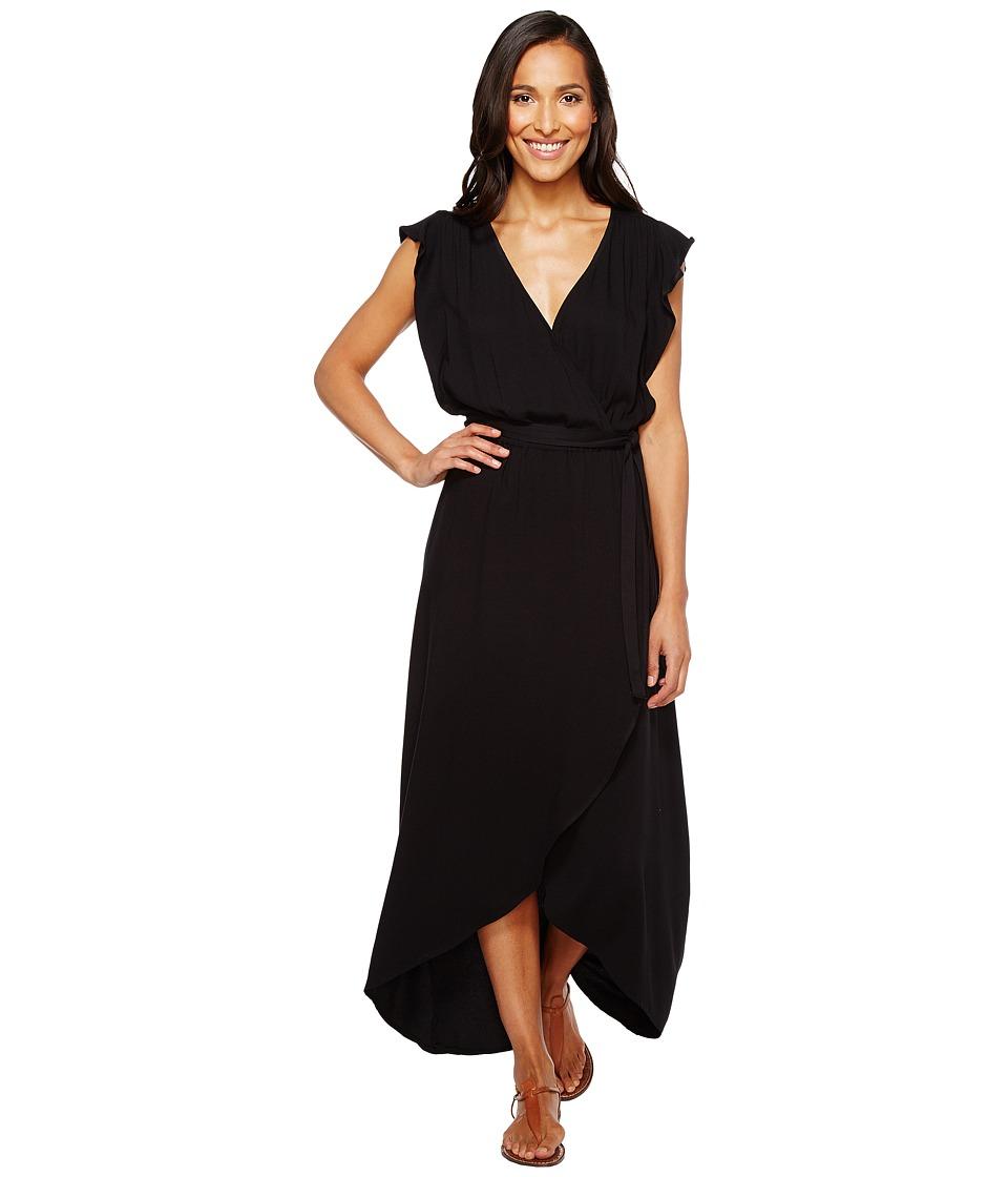Splendid Solid Ruffle Wrap Dress (Black) Women