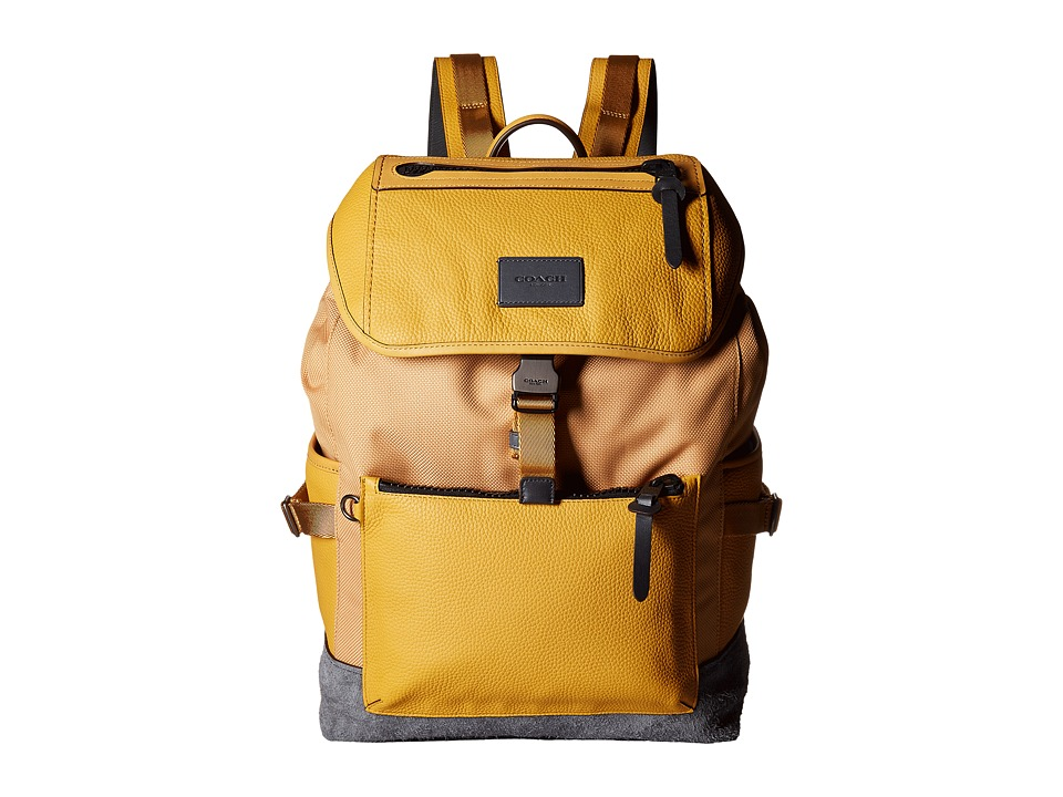COACH - Manhattan Backpack (QB/Yellow Gold/Graphite) Backpack Bags