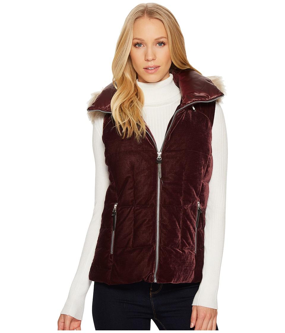Andrew Marc Val 24 Velvet Down Vest (Burgundy) Women's Coat