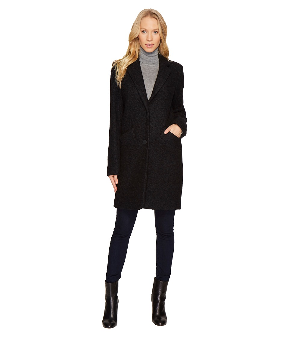Andrew Marc Paige 35 Pressed Boucle Notch Collar Coat (Bl...