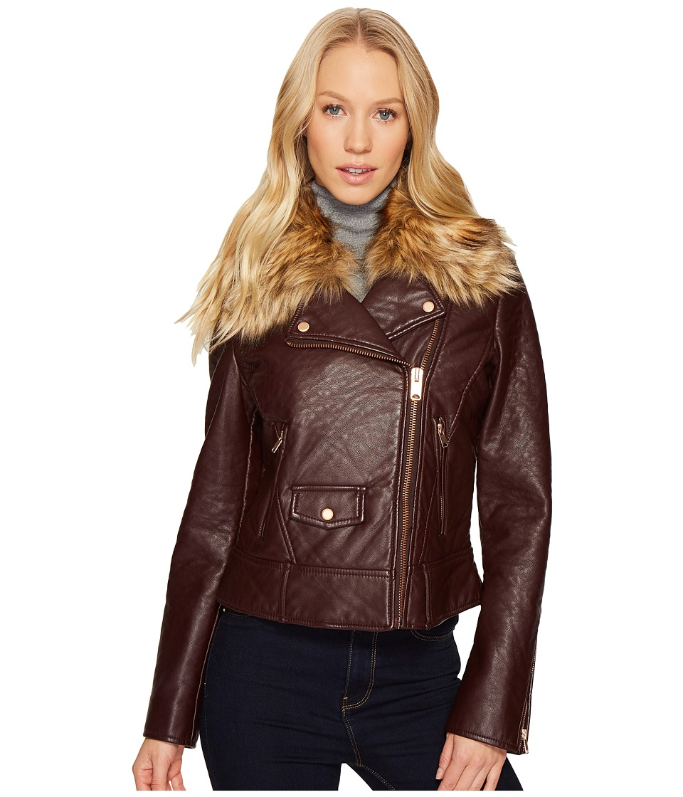 Andrew Marc Beverly 20 Faux Bubble Leather Jacket (Burgun...