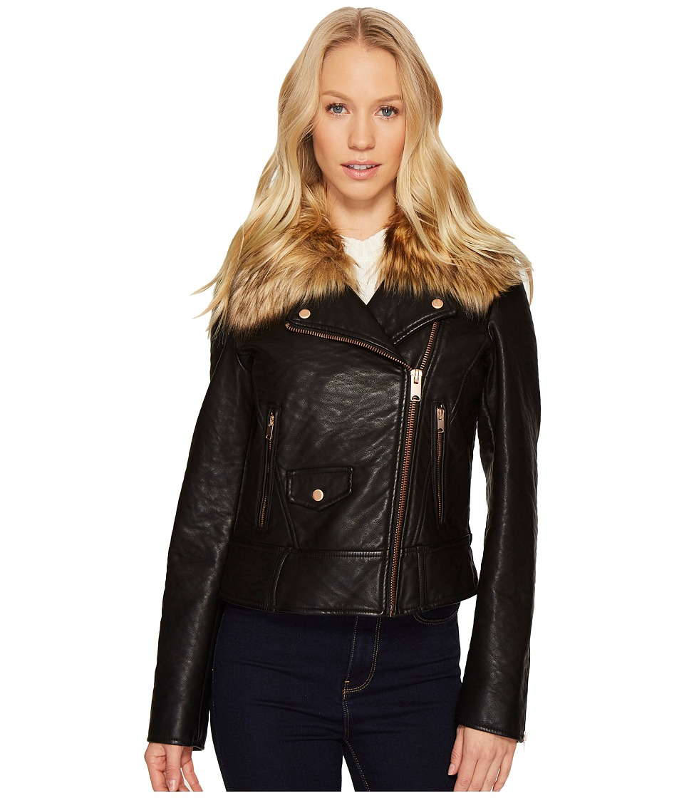 Andrew Marc Beverly 20 Faux Bubble Leather Jacket (Black)...