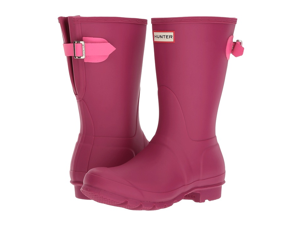 Hunter Original Short Back Adjustable Rain Boots (Dark Ion Pink/Ion Pink) Women