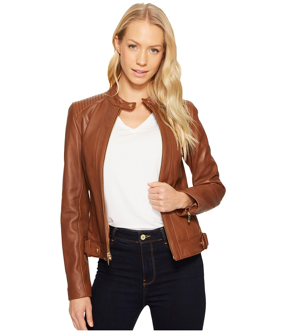 Cole Haan Leather Racer Jacket with Quilted Panels (Chest...