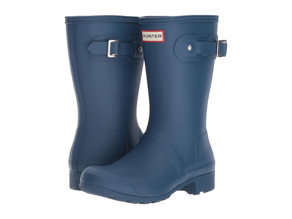Hunter Original Tour Short Packable Rain Boots (Dark Earth Blue) Women
