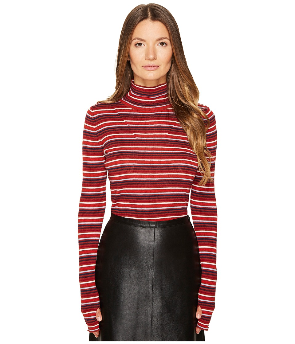 Sonia Rykiel Striped Wool Turtleneck Sweater (Terracotta/Multicolor) Women