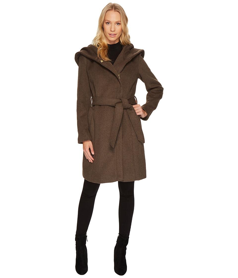 Cole Haan Hooded Asymmetrical Zip Front Coat (Light Brown...
