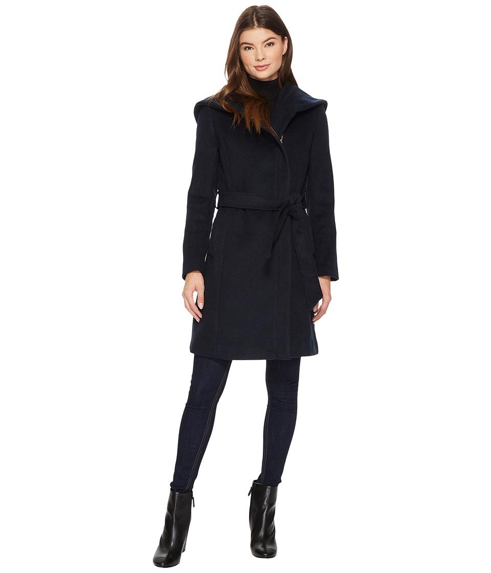 Cole Haan Hooded Asymmetrical Zip Front Coat (Dark Navy) ...