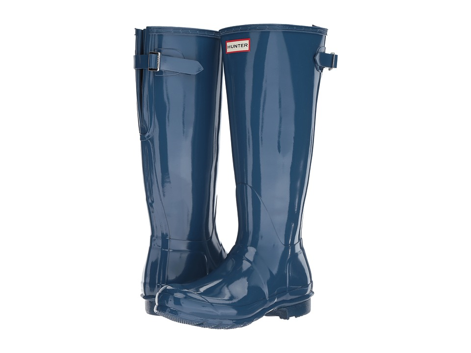 Hunter Original Back Adjustable Gloss Rain Boots (Dark Earth Blue) Women