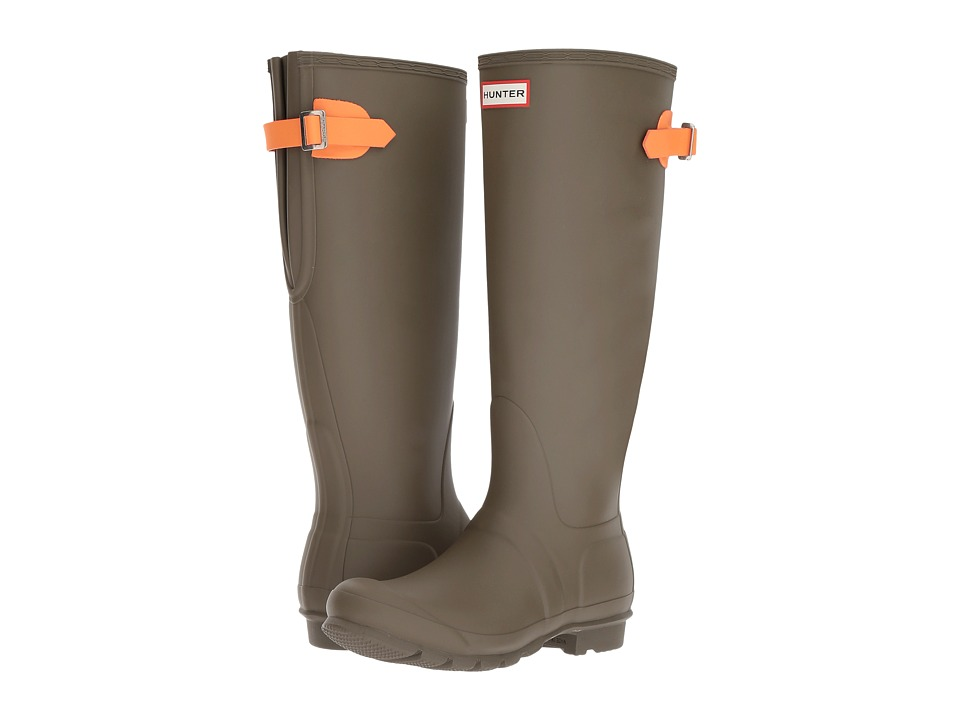 Hunter Original Back Adjustable Rain Boots (Swamp Green/Comet Orange) Women