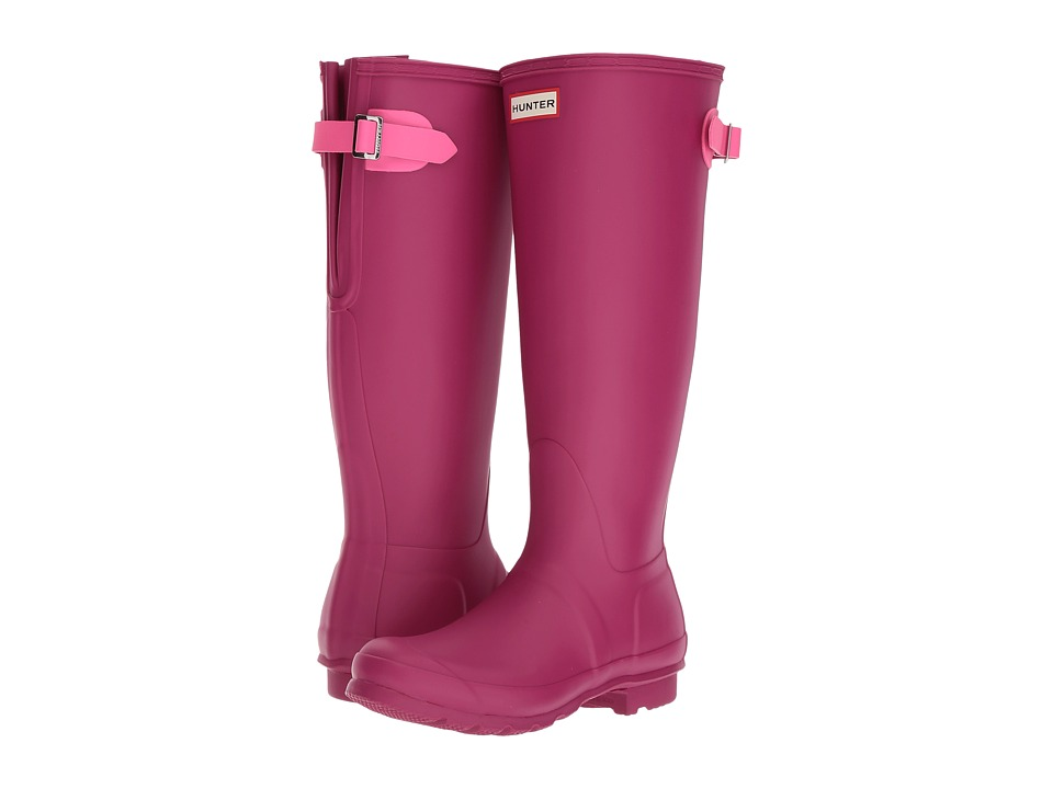 Hunter Original Back Adjustable Rain Boots (Dark Ion Pink/Ion Pink) Women