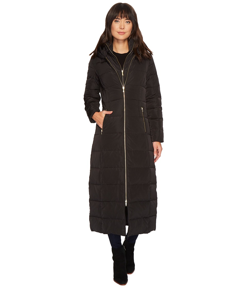Cole Haan Quilted Exposed Front Zip Long Coat w/ Oversized Hood (Black) Women