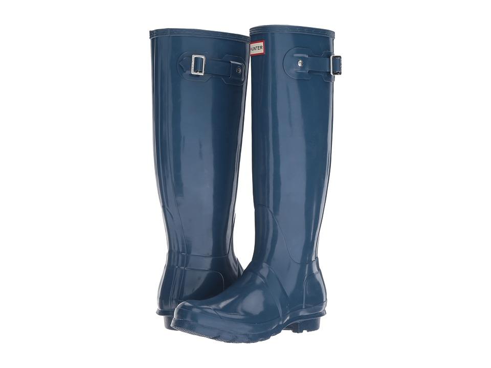 Hunter Original Tall Gloss Rain Boots (Dark Earth Blue) Women